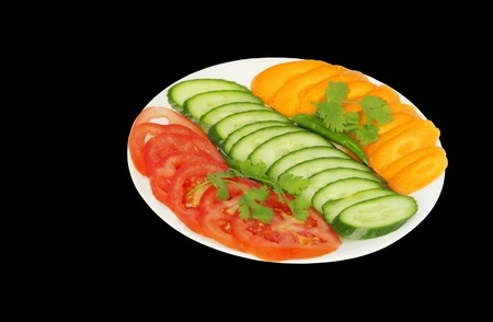 Fresh green Salad with tomato cucumber and carrot Stock Photo - 14476501