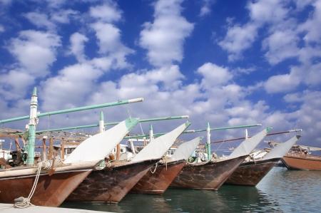 replenishing: Dhows replenishing the fishing materials in the harbor, Bahrain
