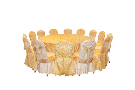 round chairs: Round table and chairs, a seating arrangement to dine Stock Photo