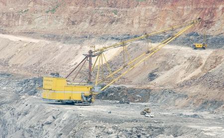 dragline: Dragline excavator in a opencast coal mine