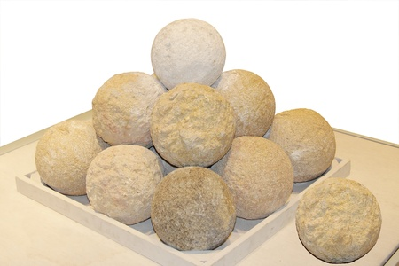 Ancient Canon balls made of rocks  photo