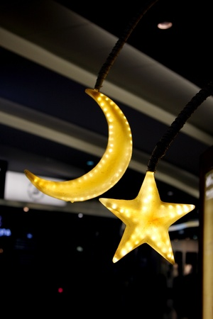 Moon   star shape Decorative lamp at Dubai Airport, 2012 Stock Photo