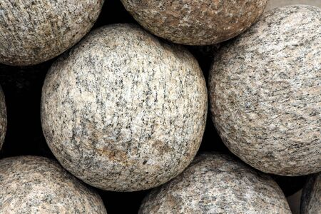 Closeup of canon balls showing granite texture