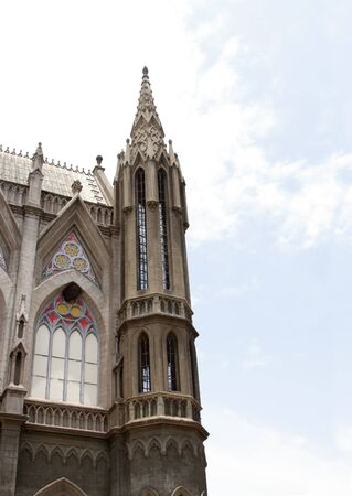 North western tower of beautiful St. Philomenas Church, Mysore Stock Photo