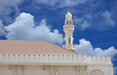 Beautiful Sheikh Isa Bin Ali Mosque minaret at Muharraq, Bahrain