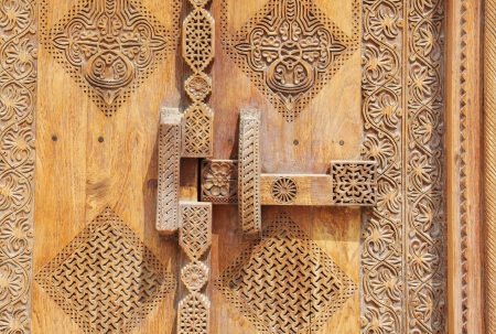 Old Locking system in beautifully carved traditional ancient door
