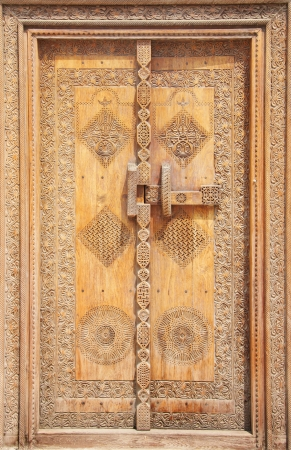 Beautifully carved traditional ancient door photo