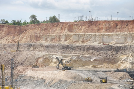 overburden: A mining Shovel excavator in a opencast coal mine