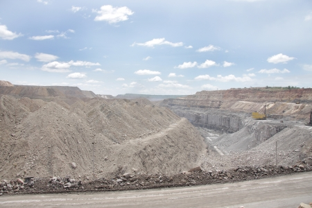 overburden: broad view of coal bed exposed in a open cast mine Stock Photo