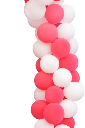 Pink and white balloons isolated on white