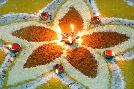 Deepak with colourful rangoli Stock Photo - 15112693