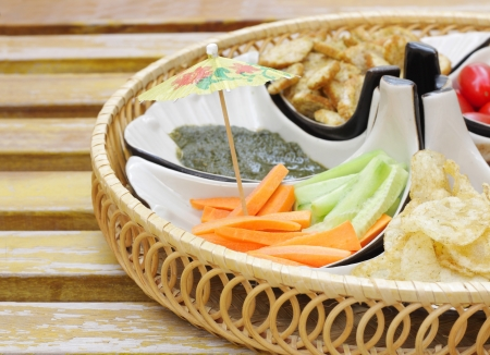 Delcious appetizer with cucumber-carrot salad at shallow depth of focus Stock Photo - 15179128
