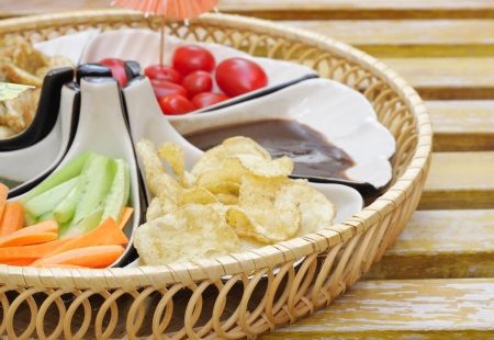 Delicious appetizer with chips and salad shallow depth of focus Stock Photo - 15179127