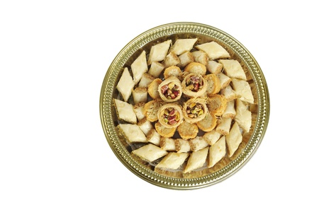 Assorted traditional Arabic sweets Baklava from top