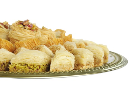 Assorted traditional Arabic sweets at shallow DOF Stock Photo