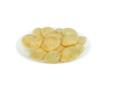 pani: Puri of panipuri kept on a plate