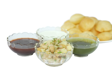 pani: Mashed potato and chickpeas stuffing for panipuri at shallow DOF