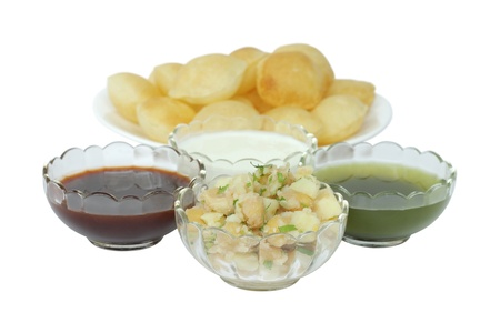 Mashed potato and chickpeas stuffing for panipuri at shallow DOF photo