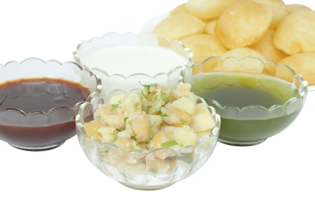 pani: Closeup of mashed potato and chickpeas stuffing for panipuri