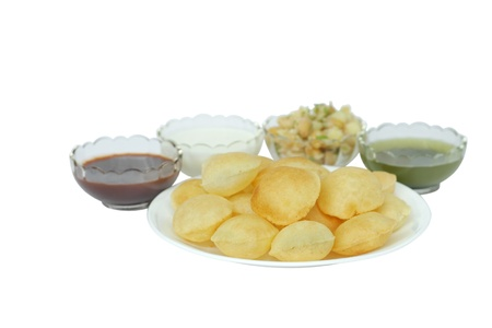 panipuri with sauce, dahi, potato, chickpeas at shallow DOF Stock Photo - 15901803