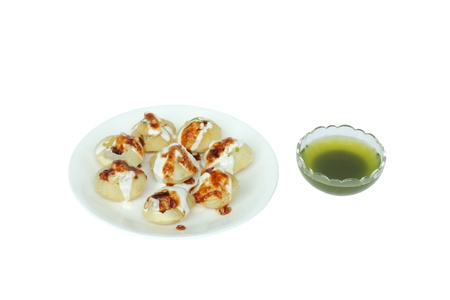 Stuffed panipuri with curd and sweet tamarind topping Stock Photo - 15901736