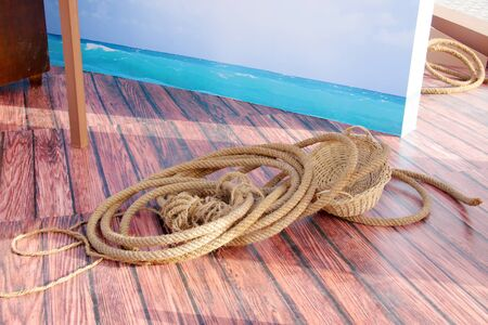 Rope used for support and hauling pearl divers photo