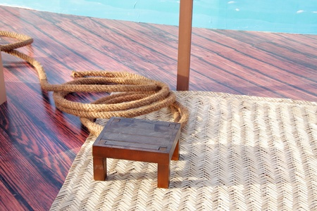 Rope, wooden stool and a date palm carpet, equipment used by pearler photo