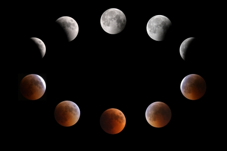 Full moon  top  partial-total-mid eclipse phases observed on 15-16 June 2011 at Bahrain
