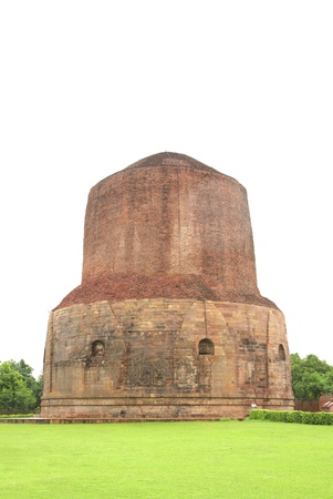 sarnath: The Dhamekh Stupa at Sarnath, India  Stock Photo