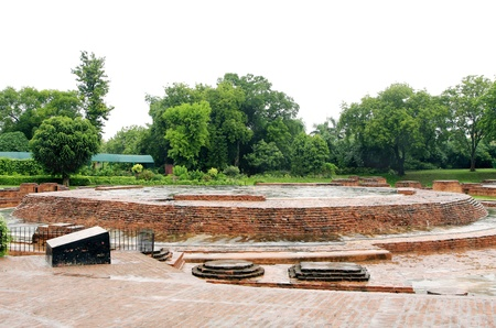 sarnath: The foundations relics of Dharmarajika Stupa at Sarnath, India