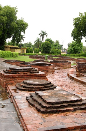 vihar: Group of square miniature buddhist stupas ruins Stock Photo