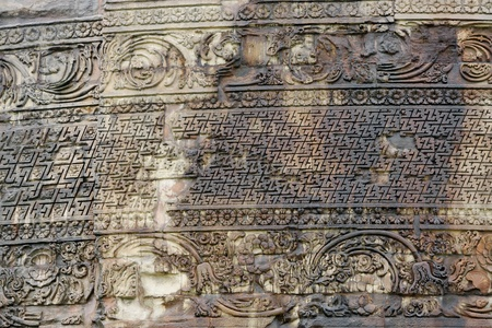 sarnath: Close view of beautiful carvings on Dhamekh Stupa Stock Photo