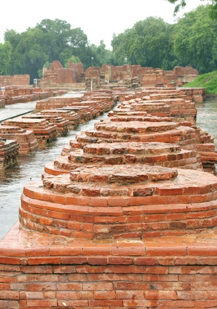 sarnath: Group of round miniature buddhist stupas ruins