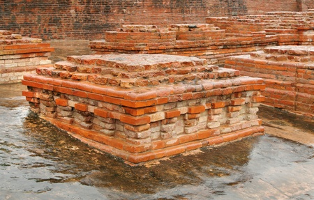 vihar: Close view of a square miniature stupa ruins