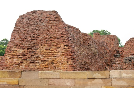 Thick wall of ancient Mulgandhakuti, the chief shrine of Buddha Stock Photo - 17429919