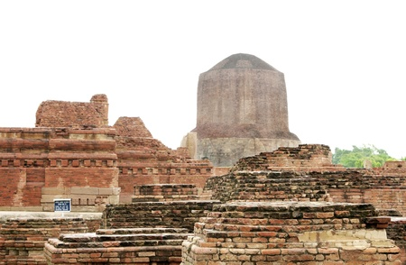 The Dhamekh Stupa from the main shrine ruins, sarnath, India Stock Photo - 17430143