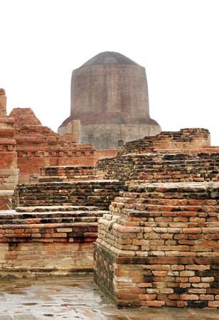 The Dhamekh Stupa from the monastery remains, sarnath, India Stock Photo - 17430055