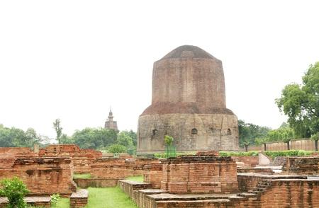 Beautiful view of miniature votive stupas and the Dhamekh Stupa Stock Photo - 17430047