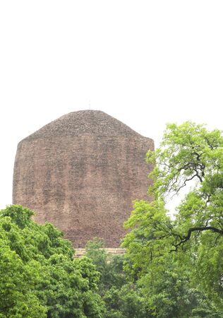 A beautiful view of the top portion of the Dhamekh Stupa Stock Photo - 17429947