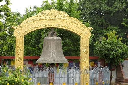 vihara: A large beautiful bell at at Mulagandhakuti Vihara temple, sarnath