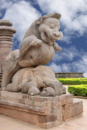 Close view of the giant lion at the entrance on clear sky, Sun temple Konark photo