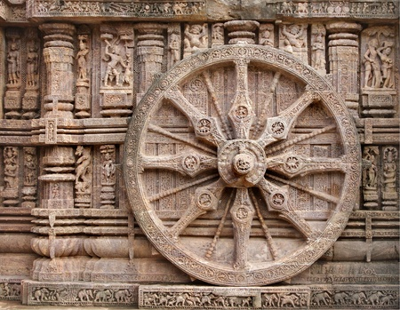 Beautiful chariot Wheel, Konark Sun Temple, Orissa photo