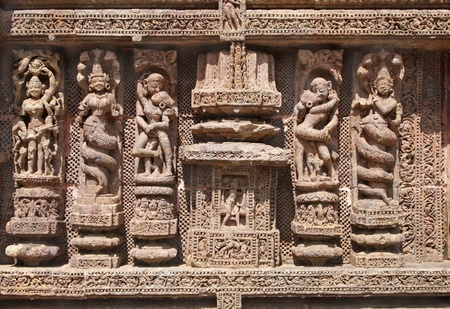 Fine carving of sculptures, Sun Temple, Konarak Stock Photo - 18346952