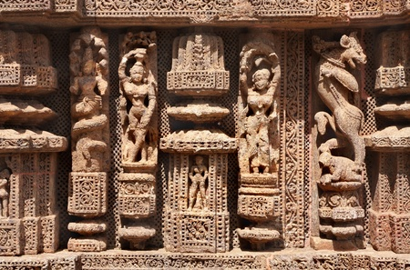Fine carved sculptures at Sun temple konark photo