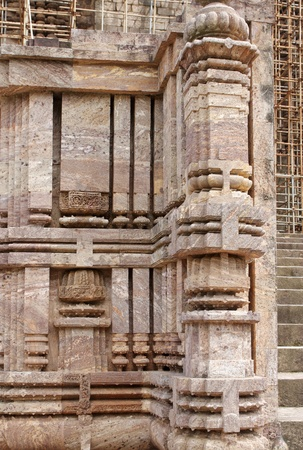 Exquisite columns at Sun temple Konarak