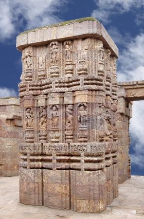 nata: A column with fine carving of Nata mandir in front of Sun Temple Konark