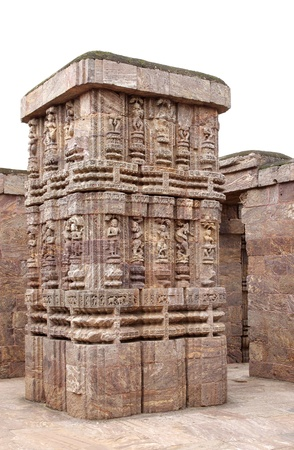 Beautiful carving on the massive column of Nata mandir, Sun Temple complex