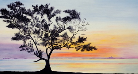 My Original painting: Beautiful sky and a tree silhouette on sunset photo