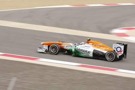 SHAKIR, BAHRAIN - APRIL 20: Adrian Sutil of Force India-Mercedes racing on Saturday Qualifying session,  April 20, 2013, Formula 1 Gulf Air Bahrain Grand Prix 2013