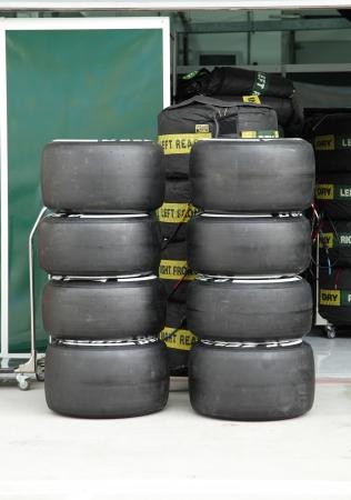 SHAKIR, BAHRAIN - APRIL 18: Heap of Formula 1 vehicle tyres in front of Pit stop garage on Thursday April 18, 2013, Formula 1   Gulf Air Bahrain Grand Prix 2013
